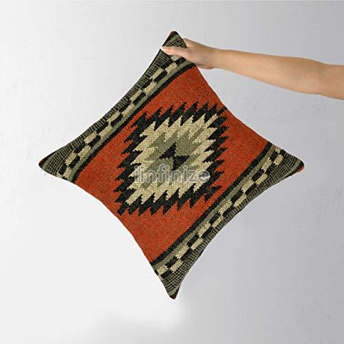 iinfinize Funda de cojín de lana de yute tejida a mano, funda de cojín para sofá, funda de cojín vintage Kilim de 45,72 cm