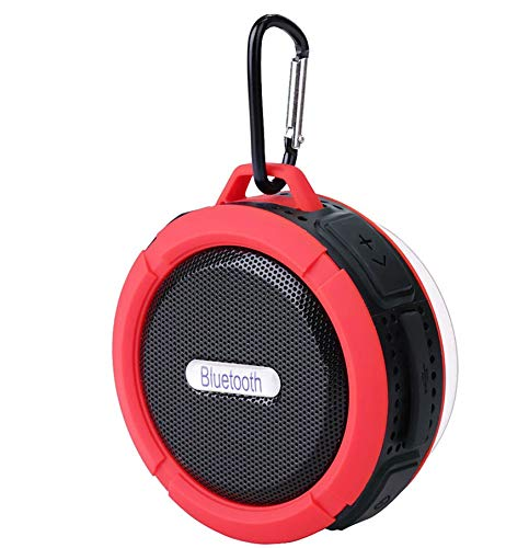 Mini Bluetooth Speakers, Wireless Waterproof Speakers with Super Bass, Shower Speaker with Suction Cup & Sturdy Hook, Compatible with iOS, Android. (Red)