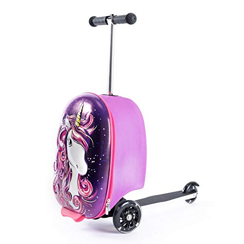 Kiddietotes Carry-on Scooter Kids Suitcase for Girls – Unicorn Kids Suitcases for Girls with Wheels that Light Up – Ages 4+ Kids Rolling Luggage to Make Travel Easier for You and Your Kids