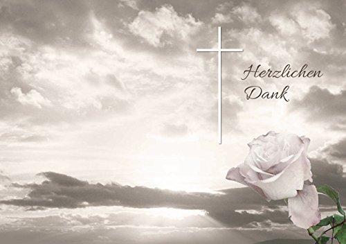 Trauer Danksagungskarten Trauerkarten ohne Innentext Motiv Himmel Rose 10 Klappkarten DIN A6 im Hochformat mit weißen Umschlägen im Set Dankeskarten Dankeschön Karten Kuvert Danke sagen Beileid (K68)