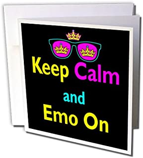 3dRose CMYK Keep Calm Parody Hipster Crown And Sunglasses Keep Calm And Emo On - Greeting Cards, 6 x 6 inches, set of 6 (g...