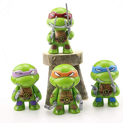 ELSANI 4pcs Teenage Ninja Turtles Themed Cake Toppers Cupcake Decoration Party Pack