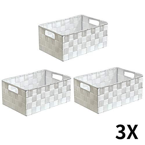 WM Homebase 3er Set Aufbewahrungskörbe geflochten Aufbewahrungskorb mit Griffen Polypropylen Regalkorb Badkorb in Weiß 28x18x12 cm
