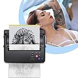 TTLIFE Machine de transfert de tatouage, imprimante de tatouage avec 500 motifs numériques et papier de transfert 10 pièces, imprimante thermique de pochoir de tatouage d'imprimante thermique(noir)