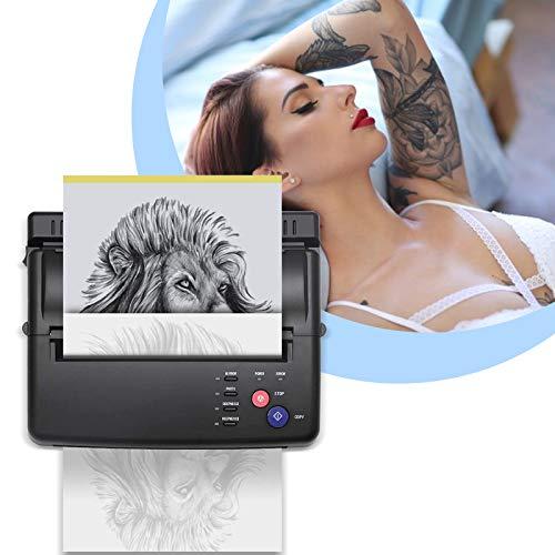 TTLIFE Macchinetta transfer per tatuaggi, stampante per tatuaggi con 500 modelli digitali e 10 pezzi di carta trasferibile, stampante termica per Halloween di Natale(nera)
