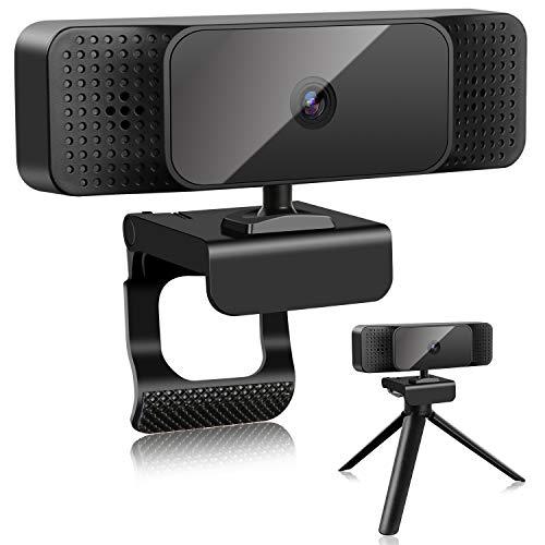 ELEPOWSTAR Webcam mit Mikrofon und Lautsprecher für PC Desktop, 1080P HD mit Autofokus Automatische Gesichtserkennung für Videoanrufe,Live-Streaming,Spiele und Konferenzen