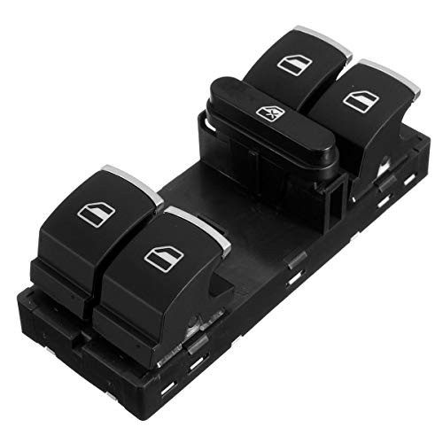 BotóN De Interruptor De Coche Ventana Principal de energía eléctrica Interruptor de botón/for VW/Ajuste for Passat/Ajuste for Scirocco/Fit for Tiguan/Ajuste for Jetta (Color : Black)