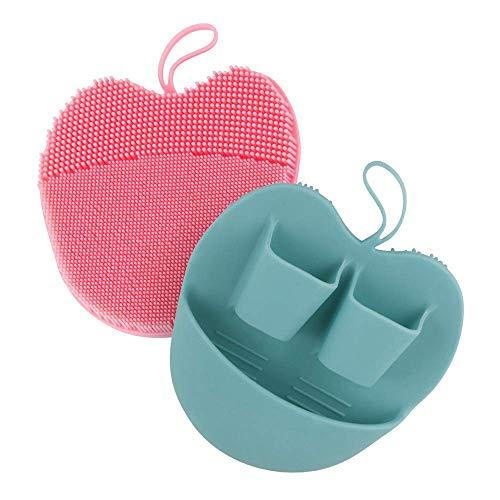 Gesichts-Peeling-Pads aus Silikon für Reinigung, Peeling, Make-up-Entferner-Bürste, Anti-Aging-Gesichtspeeling, Massage-Handgerät, für empfindliche Haut (Grün+Rosa)