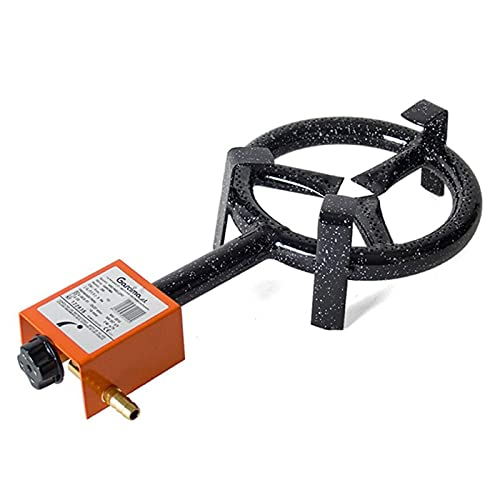 Garcima - Aro paellero esmaltado gas butano negro 20 cm. Quemador de gas para paellas, hornillo paellero plano