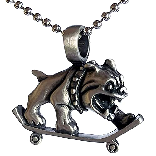 Bulldog Dog K-9 Jack Georgetown Chesty XV Puller Marines corps USMC Military Skateboard Skater X-Game Extreme sport protection Amulet Charm Pewter Men's Pendant Necklace for Men w Silver Ball Chain