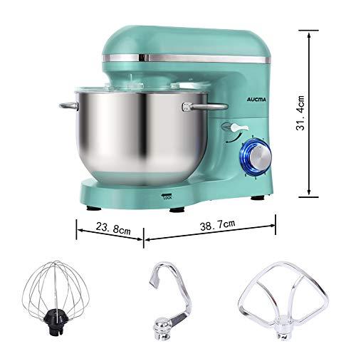 Aucma Küchenmaschine 1400W mit 6,2L Edelstahl-Rühlschüssel, Rührbesen, Knethaken, Schlagbesen und Spritzschutz, 6 Geschwindigkeit Geräuschlos Teigmaschine, Blau - 7