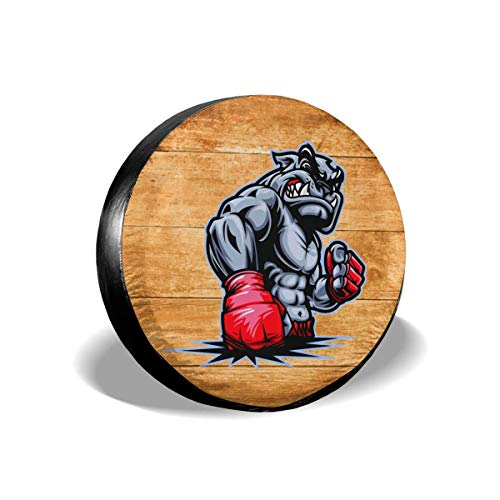 LYMT Cubierta del neumático de Repuesto Bulldog Artes Marciales Mixtas Sambo Jiu JIT brasileño Tapas de Ruedas universales para Remolque RV SUV Camión 14-17inch