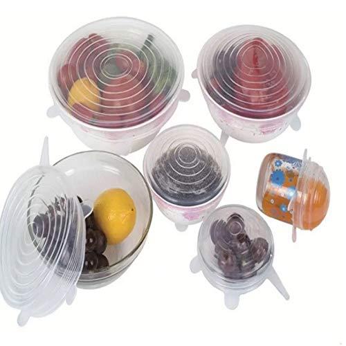 5YTR - Juego de 6 fundas de silicona para conservación de alimentos, 6 piezas, universal, para frigorífico, microondas, horno