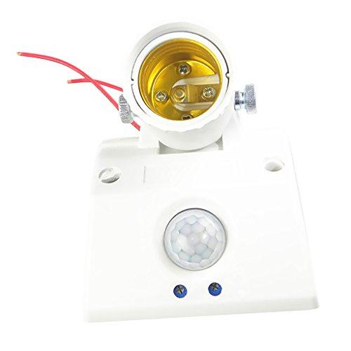 Weiß E27 Lampenfassung mit 360° PIR Bwegungsmelder Lichtschalter
