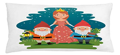 ABAKUHAUS Gnome Throw Pillow Cushion Cover, Fairytale Princess with Dwarfs in Forest Character Mother Nature Girls, Decorative Square Accent Pillow Case, 36 X 16 Inches, Multicolor
