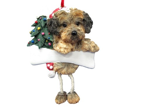 Yorkipoo Ornament with Unique 'Dangling Legs' Hand Painted and Easily Personalized Christmas Ornament