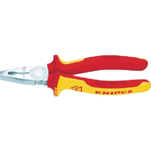 KNIPEX 03 06 200 Alicate universal cromado aislados con fundas en dos componentes, según norma VDE 200 mm