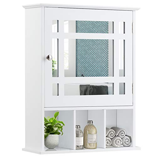 GOFLAME Bathroom Medicine Cabinet with Mirror, Wall Mounted Hanging Storage Organizer with Adjustable Shelf, Mirrored Storage Cabinet for Indoor Bathroom (White)