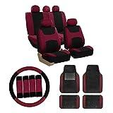 FH Group Combo Set: Light & Breezy Cloth Seat Covers (Airbag & Split) W. FH2033 + F14407 Carpet Floor Mats Burgundy/Black- Universal Car, Truck, SUV, or Van