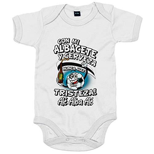 Body bebé frase con mi Albacete y cerveza nunca hay tristeza fútbol - Blanco, 6-12 meses