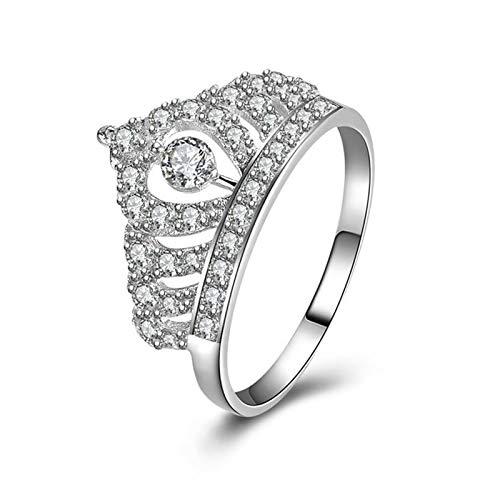 Anwaz Damen Ringe 925 Sterling Silber Damenringe Trauringe Verlobungsringe Hohl Kaiserliche Krone Zirkonia Ring Gr.61 (19.4)