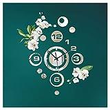 Little Deco Reloj de pared de diseño moderno con espejo y flores, (ancho x alto) 43 x 47 cm, reloj decorativo, mecanismo 3D, adhesivo decorativo para pared, DL423