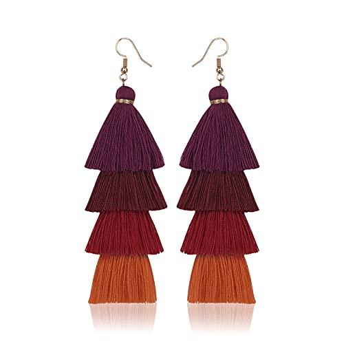 Pendientes bohemios de borla de color hecho a mano colgante estilo étnico pendientes largos joyería en capas borla pendientes, 10.5cm, Seda,