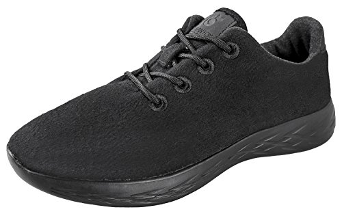 Urban Fox Mens Parker Wool Sneakers | Wool Shoes | Runners Running Shoes | Walking Shoe for Men | Black/Black 11