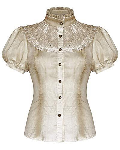 Punk Rave Mujer Steampunk Blusa Top Blanco Roto Encaje Vintage Gótico Victoriano Camisa - Vintage Blanco Roto, 4XL - UK Womens Size 20