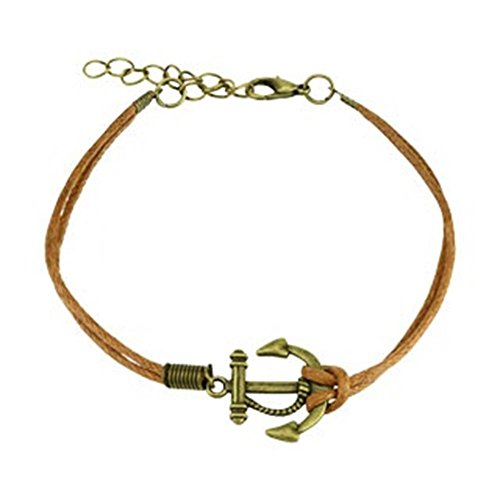 Beyoutifulthings wikkelarmband kleine anker lengte 240 mm breedte 2,53 mm verstelbaar karabijnsluiting echt leer roestvrij staal touw Maritim