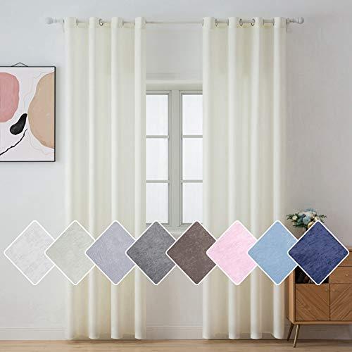 MIULEE Regalo 2 Cortinas Modernas para Ventana Super y Cómodas Decorativas para Casa Visillos Semitraslúcidos con 8 Anillas para Habitación Salón Cuarto Dormitorio 140 * 175cm Color Crema
