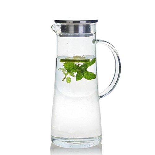GuDoQi Bottiglie Vetro 1.4 Litro, Brocca Acqua Vetro, Caraffa Acqua con Coperchio in Acciaio Inox, per Calda Fredda Acqua, Ghiaccio Tè, Vino, Caffè e Succhi