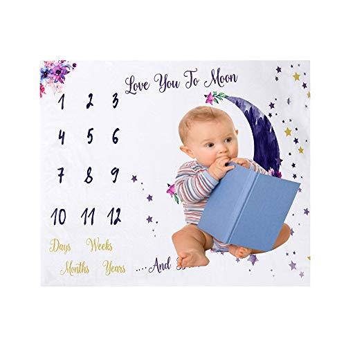 Decdeal 47 * 39 Pulgadas Mantas de Bebé Manta de Hito Mensual para Bebés Mantas de Franela Suave Foto Imagen Fondo Regalos de Cumpleaños para Bebés Recién Nacidos Niños Pequeños