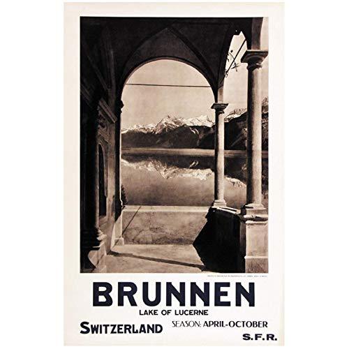 Wandbild Schweiz Luzern Tourismus Poster Brunnen Klassische Leinwandbilder Dekorative Vintage Poster Home Bar Dekor Geschenk-24X36In No Frame
