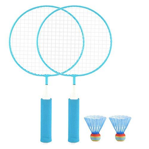 Spachy 1 Paar Kinder Badmintonschläger, Kinder Badminton Trainingsschläger Ball Set, drinnen/draußen, geeignet für Kinder von 3-15 Jahren