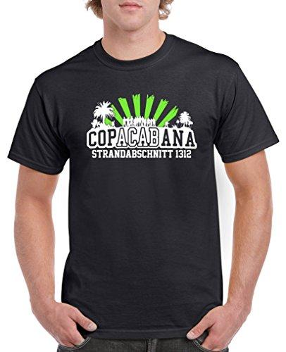 Comedy Shirts - Copacabana Strandabschnitt 1312 - Herren T-Shirt - Schwarz/Weiss-Neongrün Gr. XL
