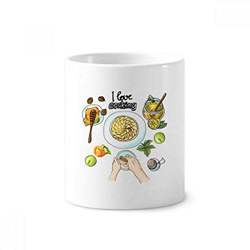 DIYthinker Ik hou van koken Geslagen eieren Honing Keramische Tandenborstel Pen Houder Mok Wit Cup 350ml Gift 9,6 cm hoog x 8,2 cm diameter