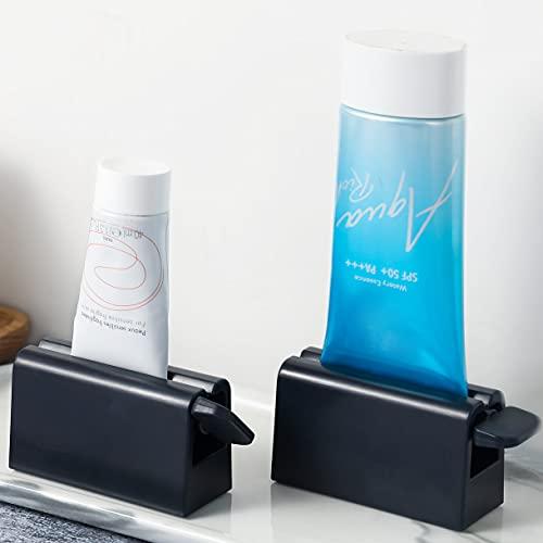 CORNERIA 2pcs Tubenquetscher/Tubenpresse für Zahnpasta, Gesichtsreiniger, Handcreme & mehr - Tuben restlos ausdrücken, auspressen und entleeren - Tubenausdrücker bekannt aus TV (Schwarz)