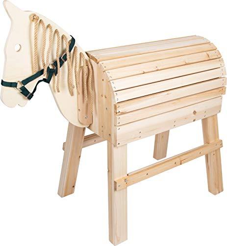 small foot 11664 Holzpferd für Kinder ab 3 Jahren, Reitpferd mit Aufstiegshilfe und Halfter, für den Außenbereich geeignet Spielzeug