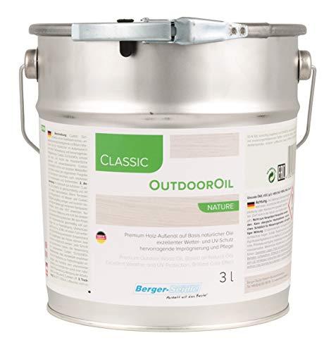 Berger-Seidle Outdoor Oil | Tiefenimprägnierung für Außen | 1 oder 3 Liter | perfekter Holzschutz für die Terrasse oder Gartenmöbel (3 Liter, Natur)