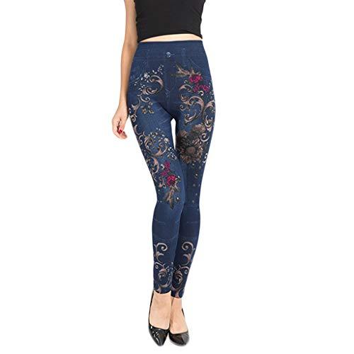 Cardith Jeans Femme Imprimé Bottoms Hip Lift Dépassant Et Mince Pantalon de Neuf Minutes