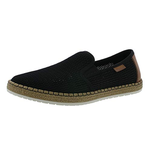 Rieker Herren SlipperMokassins B5276, Männer Slipper, Men Man Freizeit leger schlupfhalbschuh Slip-on offener,schwarz/Amaretto / 00,42 EU / 8 UK