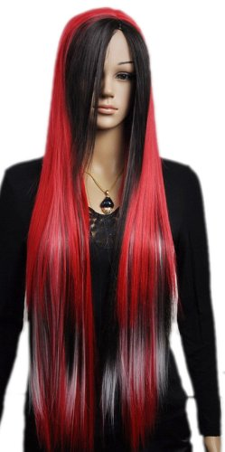 Qiyun F¨ºte Costumee Cosplay Longue Rouge Noir Mixte Raide Synthetique Cheveux Complete Perruque