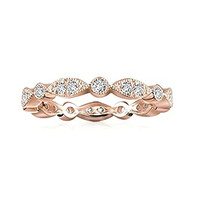 PAVOI 14K Rose Gold Plated Sterling Silver Rings Cubic Zirconia Band | Round Milgrain Eternity Bands | Rose Gold Rings for Women Size 7