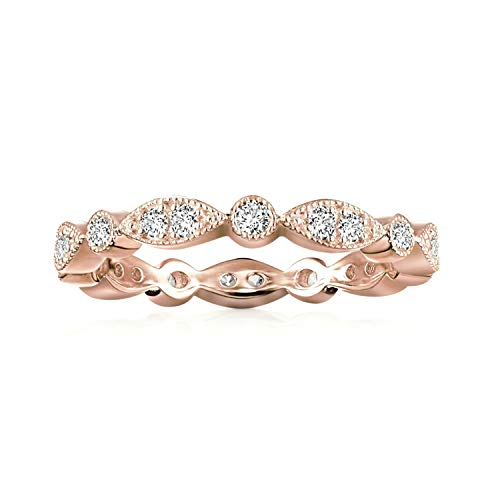 PAVOI 14K Rose Gold Plated Rings Cubic Zirconia Band | Round Milgrain Eternity Bands | Rose Gold Rings for Women Size 7