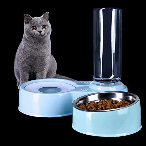 ZXT 2 in 1 Comedero y Bebedero Automático para Gatos y Perros,Dispensador de Agua Pequeño, Comedero de Perros para Ralentizar la Comida, Gato Comedero De Agua para Mascotas, (Blanco y Azul) (Azul)