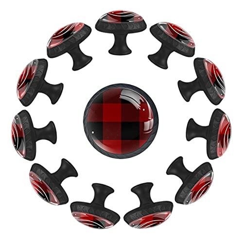 12 pomelli rotondi per cassetti, con motivo a quadri di bufalo grande, colore nero, rosso, 35 mm,...