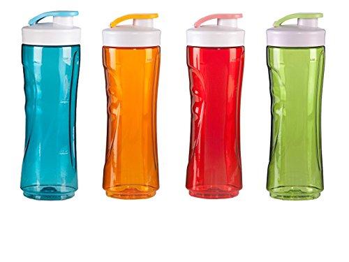 DOMO 4-delige set reserveflessen voor smoothie maker, 300ml, blauw + rood + groen + oranje; DO481BL-BG-4er