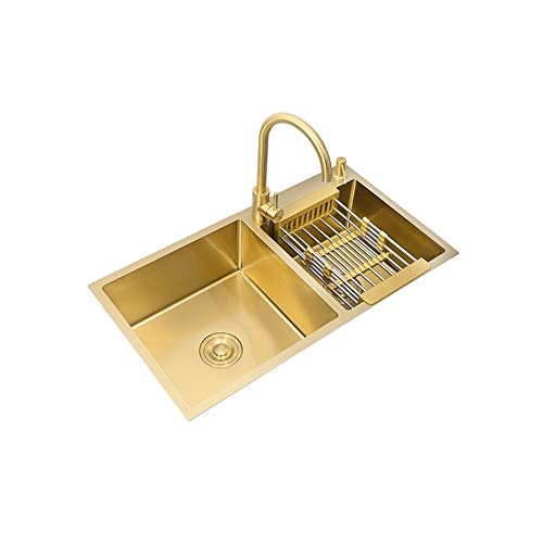 Buy Bargain HXHN Above Counter Manual Gold Sink 304 Stainless Steel Kitchen Sinks Single Bowl Undermount Kitchen Sink Gold Basket Drainer, Inset Square Kitchen Sink (Color : 80x45cm Set)