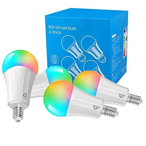 MoKo Lampadina LED E14 Colorate RGB, Intelligente Lampadine Controllo Remoto WiFi, 4 Pezzi 9W Luce Calda Dimmerabile, Lavora con Alexa Echo, Google Home e IFTTT per Controllo App Smart Life No Hub